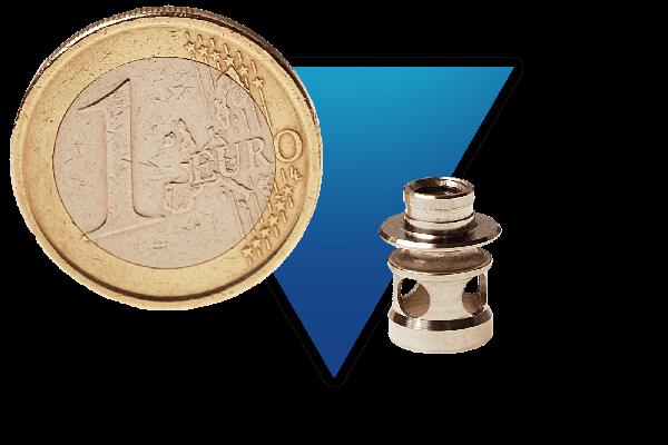 Valve usinée en inox 316L utilisée dans l'industrie de la connectique